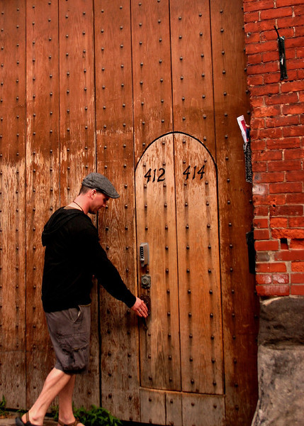 Geof and old door in old montreal