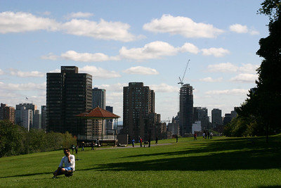 Clouds appeared briefly during midday, adding drama to the city's skyline.