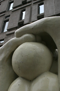 Looking up at the crouching statue.