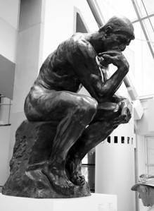 A casting of Rodin's Thinker statue