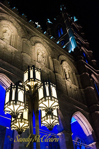The Notre Dame cathedral in Old Montreal at night.