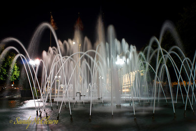 Long exposure of the fountain at Vauquelin Place in Old Montreal.
