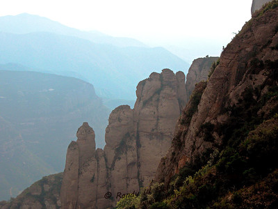 """""""Mount Snoopy"""" - View from Montserrat Abby in Spain overlooking the valley below."""