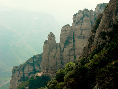 """Mount Snoopy"" - View from Montserrat Abby in Spain overlooking the valley below."