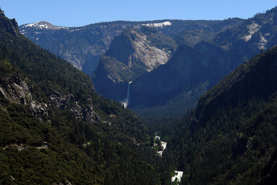 The valley on our way back - Bridal veil falls at the center