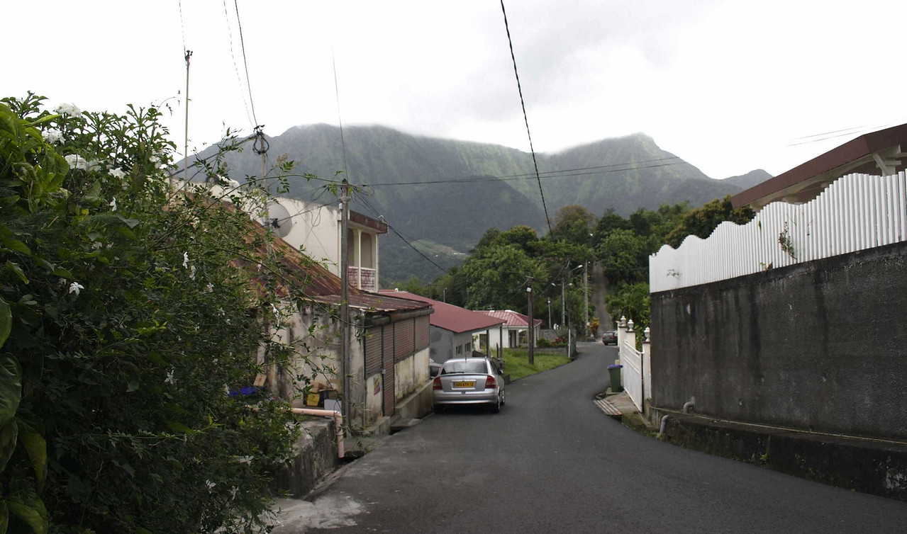 Looking down the street toward Pitons du Carbet