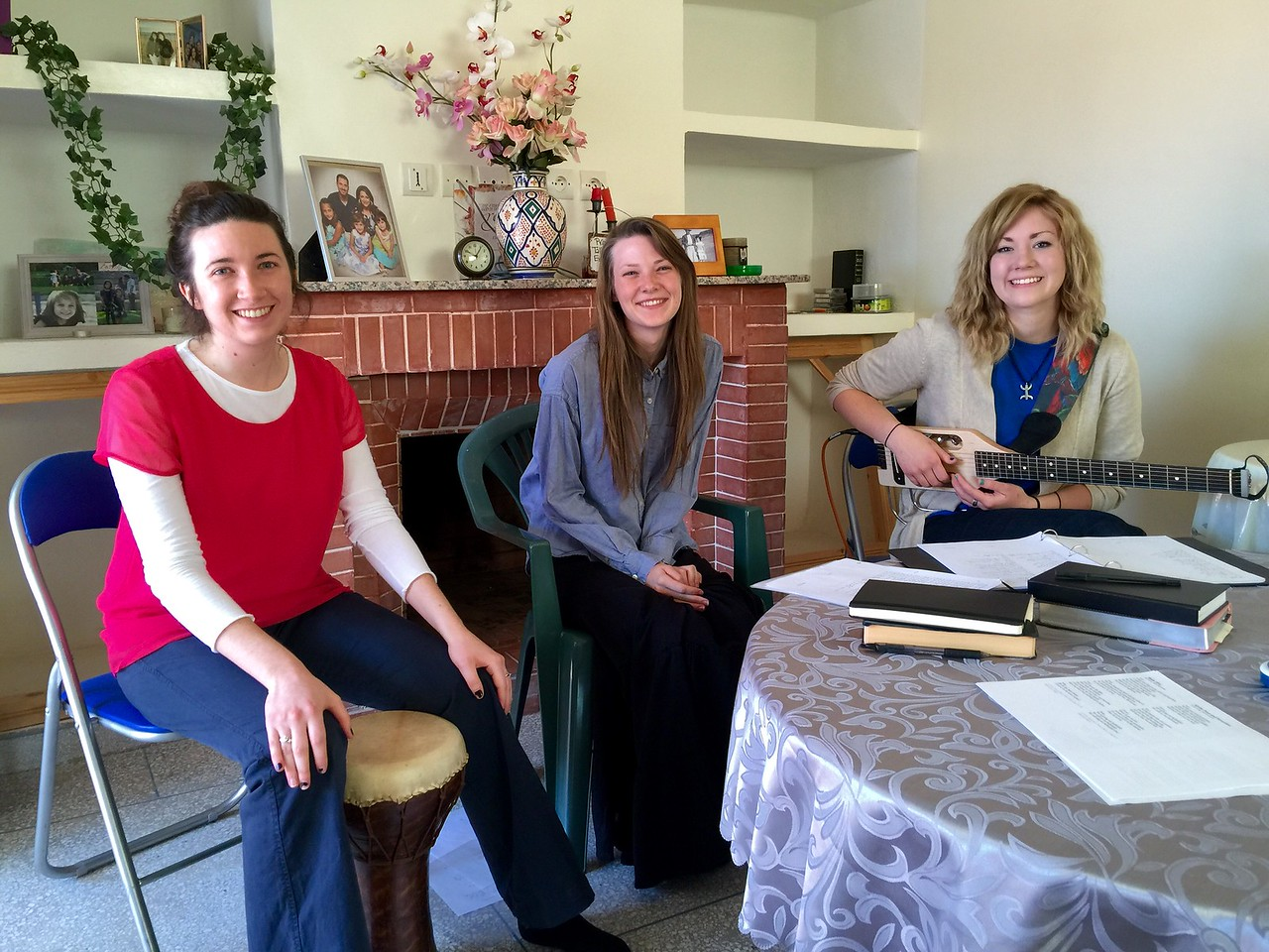 Emma, Sam and Ang lead worship Sunday Morning.
