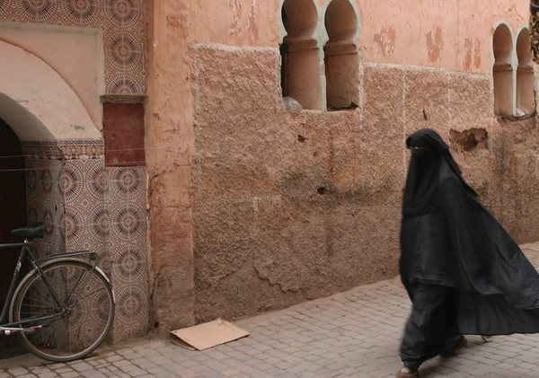 Covered woman in the medina