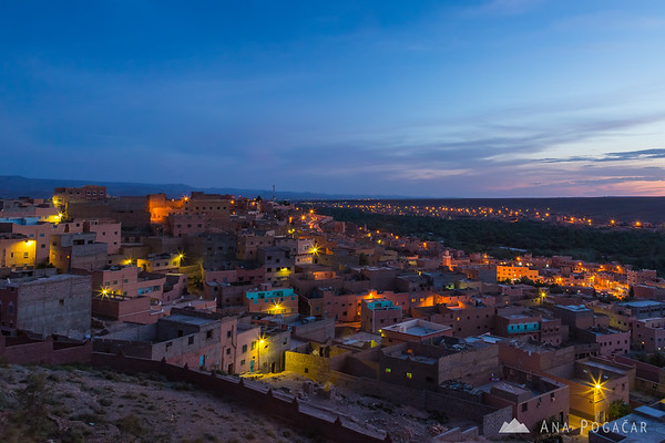 The town of Boumalne du Dades at dusk