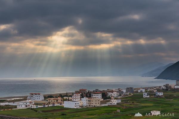 Sunrays on the Mediterranean coast
