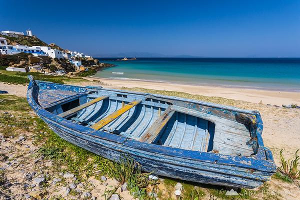 A boat on a sandy beach near Tangier