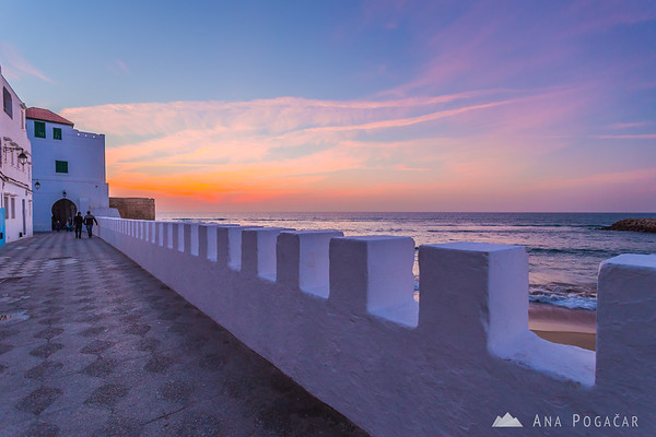 After sunset at the fort in the medina of Asilah, a town on the Atlantic coast