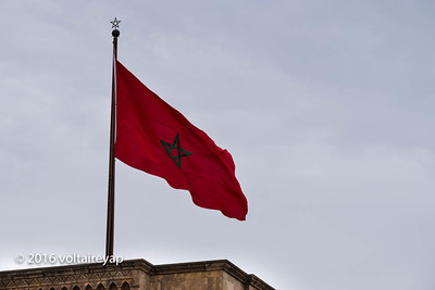Moroccan flag representing the five point of Islam.  It used to be the Star of David.