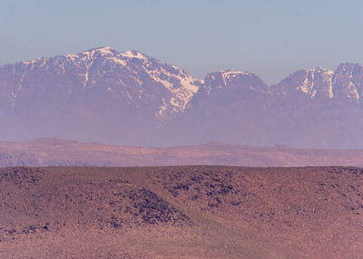 VIEW OF THE HIGH ATLAS MOUNTAINS FROM SOUS-MASSA-DRAA, MOROCCO.