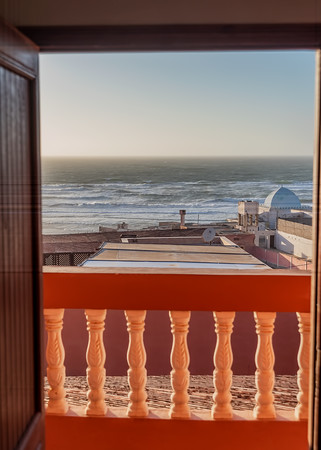 VIEW FROM OUR ROOM, RESIDENCE FANTI, SIDI OUASSAY, SOUTH OF AGADIR, MOROCCO.