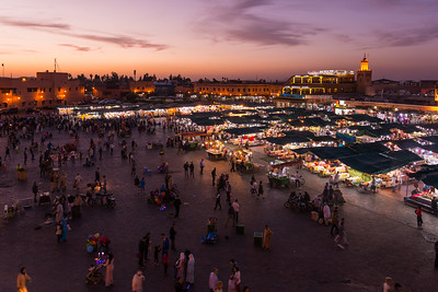 Markets at dusk in Jemaa el-Fnaa - Marrakech, Morocco
