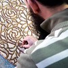 Creating mosaic table-Poterie de Fes