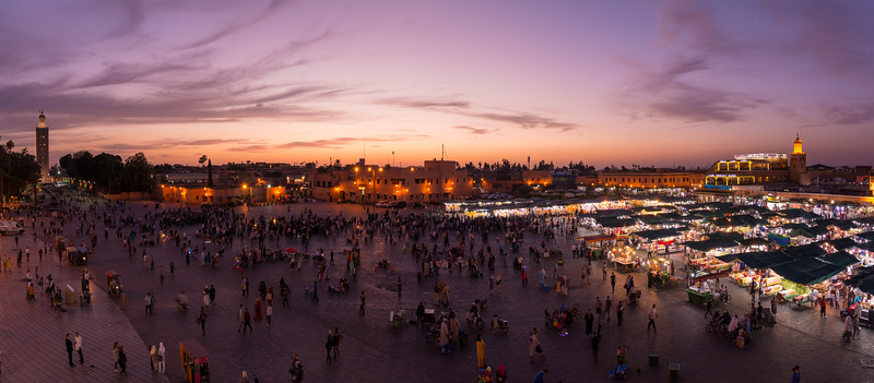 Jemaa el-Fnaa at sunset - Marrakech, Morocco