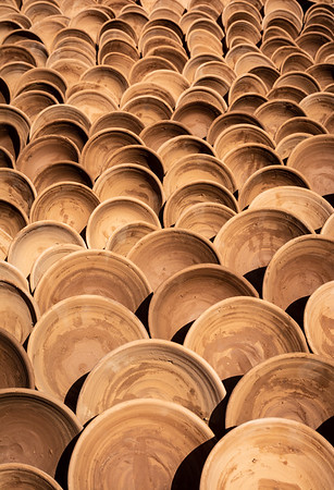 Terracotta bowls drying in the sun, Morocco