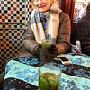 Mimi enjoying the hot mint tea