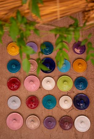 Colourful tagine lids in Zagora, Morocco
