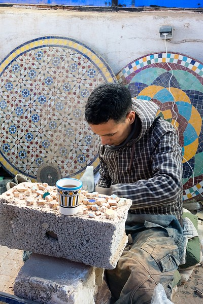 Making tiles at Poterie de Fes