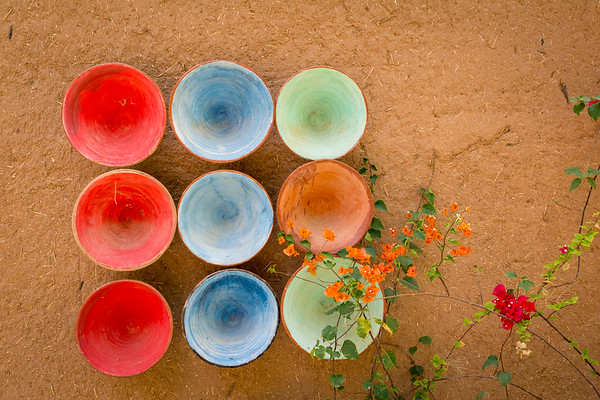 Colourful bowls in Zagora, Morocco