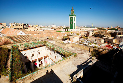 Riad D'Or in Meknes is close to the mosque (tall green building). I was woken up by the morning prayer at 4am. It was as loud as if someone was speaking right into my ear. It went on for several minutes then stopped. Five minutes later when I was about to fall asleep again it resumed for couple of minutes and stopped. I thought that must be it, then couple of minutes later more prayer was back on.