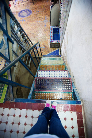 The stairs in a ceramic factory in Fez.