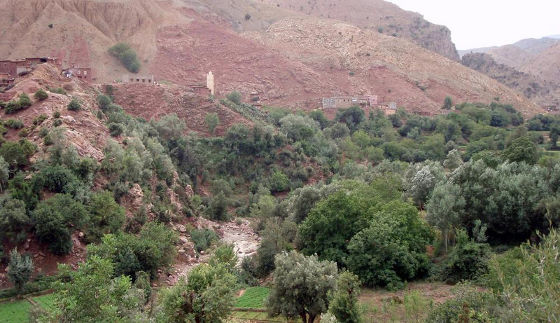 Small village on western side of High Atlas mountains, almost invisible due to the use of local earth & mud for building construction