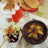 Ouarazazate dinner, mixed salad with lamb & zucchini tagine