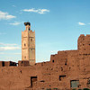 Inside Ouarzazate kasbah, mosque with stork nest