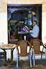 Ken reading the menu in a Medina cafe