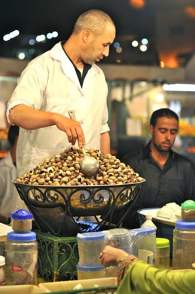 Getting into the Djmaa el Fnaa dinner market ~ snails & broth