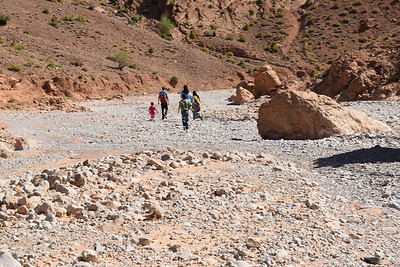Walking down the river bed to meet Janice.