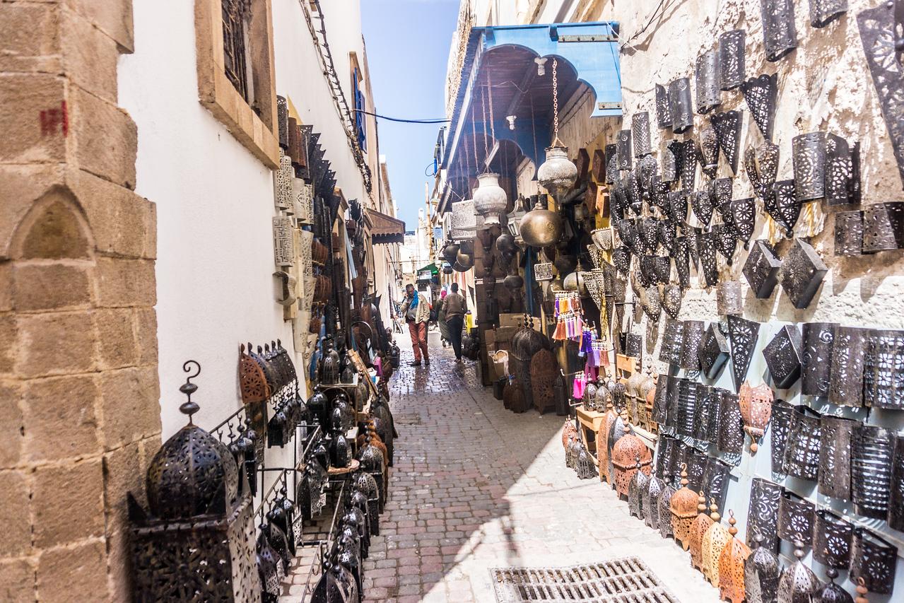 Narrow streets with handiwork displayed