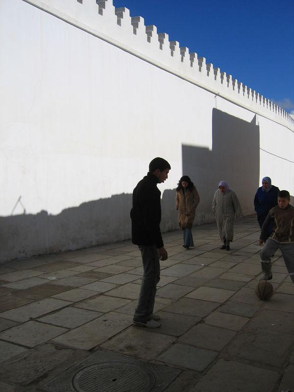 Street football in the medina