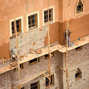 Construction work in Ouarzazate, Morocco