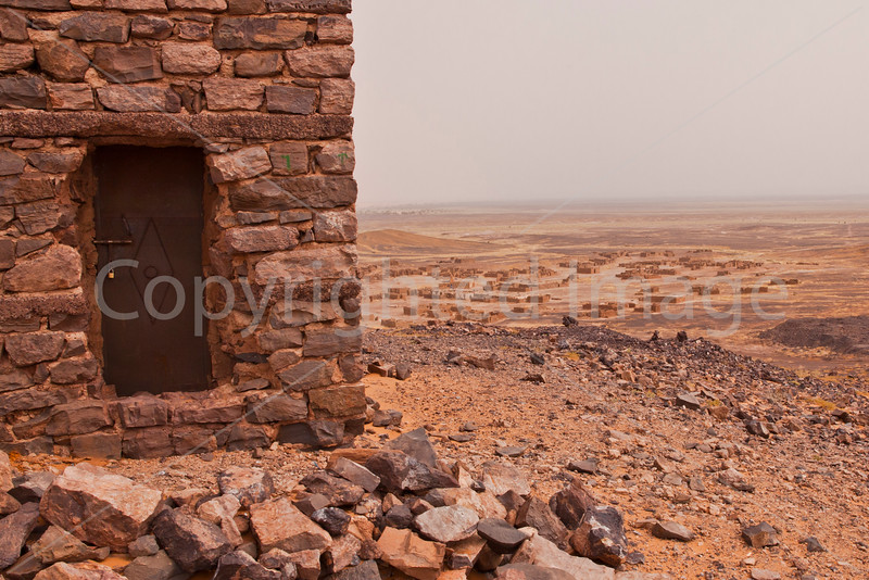 Abandoned mining camp in the Sahara