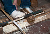 Foot operated lathe to make kabob skewers.