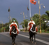 Guards on horseback on way to Royal Palace in Rabat for the changing of the guards.