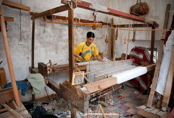 Hand weaving of rugs