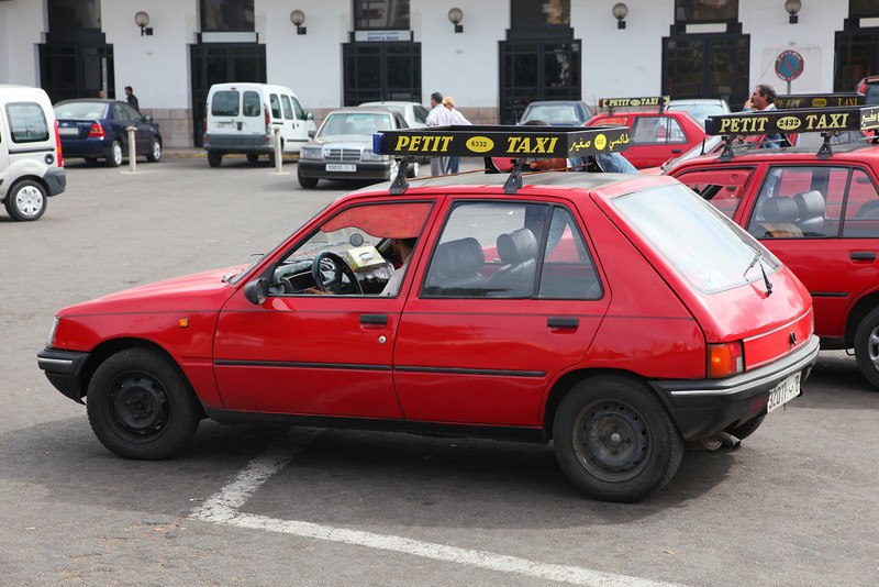 The taxis in Casablanca, called 'Petit Taxi' ('Small Taxi'). Drivers are nuts, AND cheating!! You have been warned...