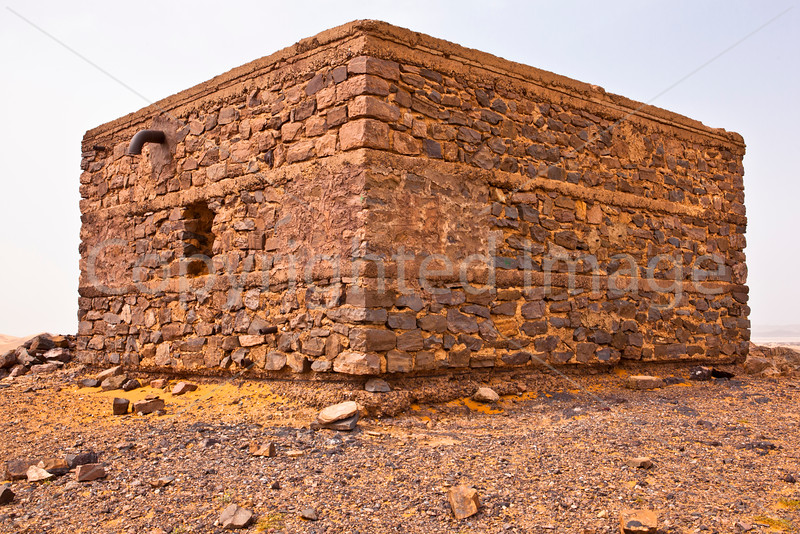 Building in abandoned mining camp in the Sahara