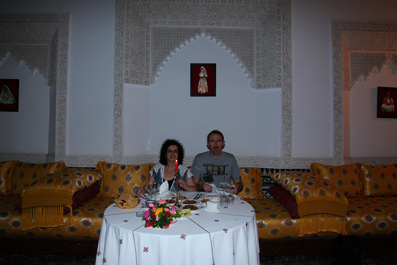 Breakfast in the 'Riad al Fez'. We felt treated like royals. We were the only guests in this place.