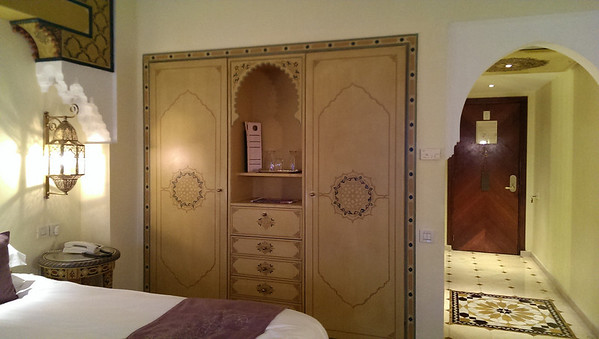 The closet and bureau at Sofitel Palais Jamai in Fez, Morocco.