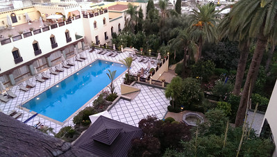 The pool and gardens at the Sofitel Palais Jamai in Fez, Morocco.