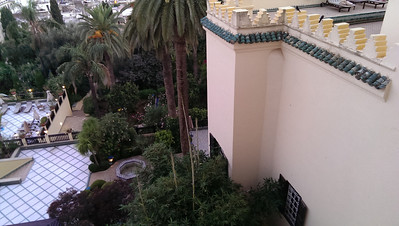 The gardens below us at the Sofitel Palais Jamai in Fez, Morocco.