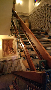 The stairway and tilework at the Sofitel Palais Jamai in Fez, Morocco.