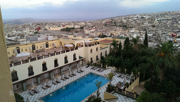 The pool and bar terrace at the Sofitel Palais Jamai in Fez, Morocco.